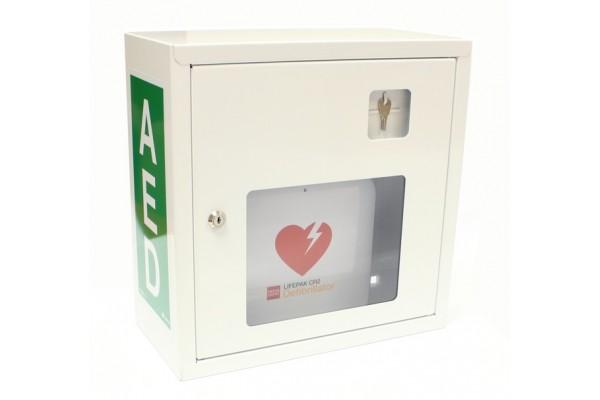 Szafka na AED metalowa na kluczyk - biała