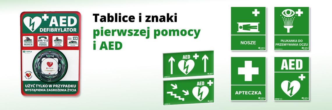 Znaki tablice pierwszej pomocy i AED