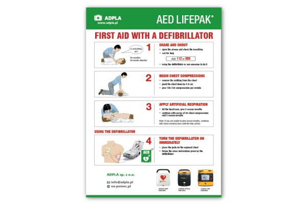 First aid with a defibrillator instructions - PCV A3