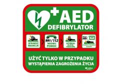 Tablica AED defibrylator wewnętrzna 600x540 mm