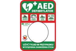 Tablica informacyjna AED pod kapsułę Rotaid wewnętrzna