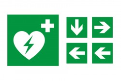 Znak AED kierunek