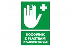Znak dozownik z plastrami opatrunkowymi