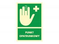 Znak punkt opatrunkowy z napisem informacyjnym